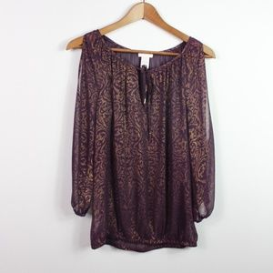 Cache Women's Cold Shoulder Top 3/4 Sleeve Paisley